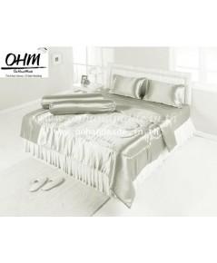 ผ้านวมคลุมเตียง 90 นิ้ว x100 นิ้ว ผ้าซาตินแท้ 330 เส้น ขนาด 6 ฟุต สีเทาเบส