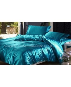 ผ้าปูที่นอน ความสูงฟูก 10 นิ้ว ผ้าซาตินแท้ 440 เส้น ขนาด 6 ฟุต สีฟ้าอมเขียวเข้ม