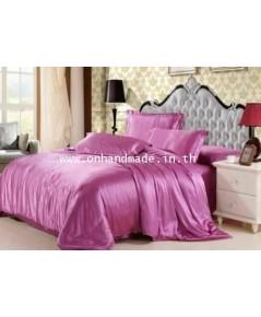 ผ้าปูที่นอน ความสูงฟูก 10 นิ้ว ผ้าซาตินแท้ 440 เส้น ขนาด 6 ฟุต สีชมพูกลีบบัวหวาน