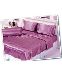 ผ้าปูที่นอน ความสูงฟูก 10 นิ้ว ผ้าซาตินแท้ 440 เส้น ขนาด 6 ฟุต สีชมพูกลีบบัว