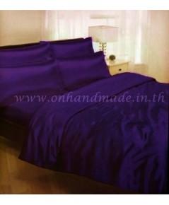 ผ้าปูที่นอน ความสูงฟูก 10 นิ้ว ผ้าซาตินแท้ 440 เส้น ขนาด 6 ฟุต สีม่วงเข้ม