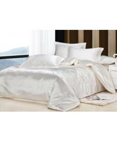 ผ้าปูที่นอนและผ้านวมคลุมเตียงผ้าซาตินแท้ 440 เส้น ขนาด 6 ฟุต (6 ชิ้น) สีครีมอ่อน