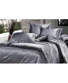 ผ้าปูที่นอนและผ้านวมผ้าซาตินแท้ 440 เส้น ขนาด 3.5 ฟุต (4 ชิ้น) สีเทาเงิน