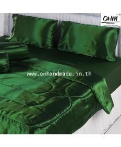ผ้านวมคู่ ผ้าเครปซาติน 220 เส้น ขนาด 6 ฟุต สีเขียวหัวเป็ด