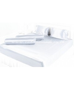 ผ้าปูที่นอนผ้าซาตินแท้ 440 เส้น ขนาด 7 ฟุต สีขาวนม