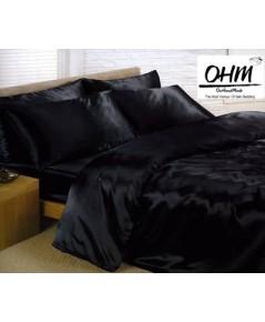 ผ้านวมคลุมเตียง ผ้าไหมซาตินญี่ปุ่น ขนาด 6 ฟุต (ขนาด 90 นิ้ว x 100 นิ้ว) สีดำ