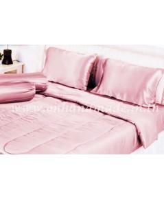 ผ้านวมคลุมเตียงไมโคร ผ้าซาตินแท้ 440 เส้น ขนาด 6 ฟุตพิเศษ (ขนาด 90 นิ้ว x 100 นิ้ว) สีโอรสชมพูพาสเทล