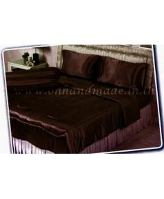 ผ้านวมคลุมเตียง ผ้าซาตินแท้ 440 เส้น ขนาด 6 ฟุตพิเศษ (ขนาด 90 นิ้ว x 100 นิ้ว) สีน้ำตาลช็อคโกแลตเข้ม