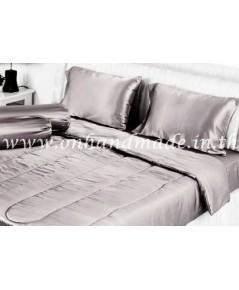 ผ้านวมคลุมเตียง ผ้าซาตินแท้ 440 เส้น ขนาด 6 ฟุตพิเศษ (ขนาด 90 นิ้ว x 100 นิ้ว) สีเทาน้ำตาลอ่อน
