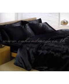 ผ้านวมคลุมเตียง ผ้าซาตินแท้ 440 เส้น ขนาด 6 ฟุตพิเศษ (ขนาด 90 นิ้ว x 100 นิ้ว) สีดำ