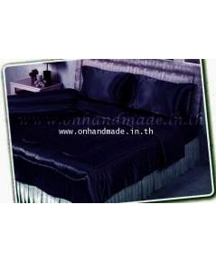 ผ้านวมคลุมเตียงไมโคร ผ้าซาตินแท้ 440 เส้น ขนาด 6 ฟุตพิเศษ (ขนาด 90 นิ้ว x 100 นิ้ว) สีกรมท่า