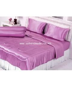ผ้านวมคลุมเตียงไมโคร ผ้าซาตินแท้ 440 เส้น ขนาด 6 ฟุตพิเศษ(ขนาด 90 นิ้ว x 100 นิ้ว)สีชมพูกลีบบัวหวาน