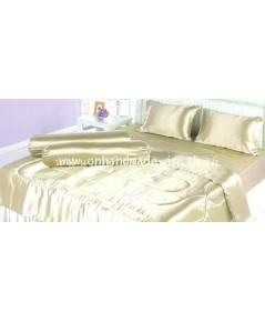 ผ้านวมคลุมเตียงไมโคร ผ้าซาตินแท้ 440 เส้น ขนาด 6 ฟุตพิเศษ (ขนาด 90 นิ้ว x 100 นิ้ว) สีทองอ่อน
