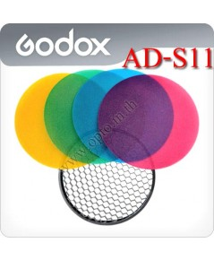 AD-S11 Color Gel Pack with Reflector Grid For Godox AD180 AD360 Flash