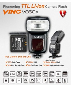 V860C Canon Auto E-TTL II Kit Speedlight Li-ion Battery Hi-SpeedSync 1/8000 LCD Panel แฟลชออโต้Godox