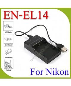 USB ENEL14BatteryChargerแท่นชาร์จสำหรับแบตเตอรี่กล้องNikon EN-EL14a กล้องรุ่นD3200 D3300 D5200 D5300