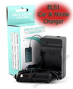 Home + Car Battery Charger For Olympus BLS1