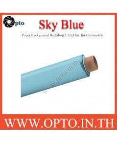 Sky Blue Paper Background Backdrop 2.72x11m. for Chromakey ฉากกระดาษสีฟ้าอ่อน Seamless Paper