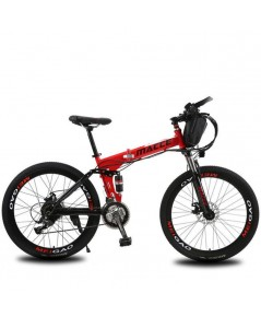 Macce Red 26Inch Folding Electric Mountain Bike Disc Brake 21Speed จักรยานไฟฟ้า เสือภูเขาสีเเดง