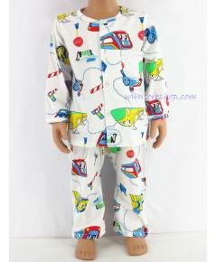 ชุดนอนเด็กชาย ไซส์ 1-2 แขนยาว ขายาว ผ้ายืด (แบบคอกลม กระดุมผ่าหน้า) คลิกดูรายละเอียดเพิ่มเติม
