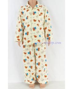 ชุดนอนเด็กชาย ไซส์ 3-4 แขนยาวขายาว ผ้ายืด (แบบคอปก กระดุมผ่าหน้า)  คลิกดูรายละเอียดเพิ่มเติม