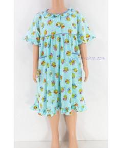 ชุดนอนเด็กหญิง ไซส์ 3-4  ผ้ายืด กระโปรง แขนสั้น (คอระบายกุ๊น กระดุม 2 เม็ด) คลิกดูรายละเอียเพิ่มเติม