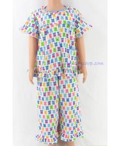 ชุดนอนเด็กหญิง ไซส์ 2-3 แขนสั้น ขายาว ผ้ายืด (แบบระบายอก กระดุมผ่าหน้า) คลกดูรายละเอียดเพิ่มเติม