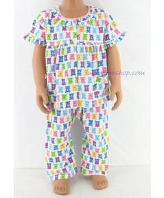 ชุดนอนเด็กหญิง ไซส์ 1-2 แขนสั้น ขายาว ผ้ายืด (แบบ คอระบาย กระดุมผ่าหน้า) คลิกดูรายละเอียดเพิ่มติม