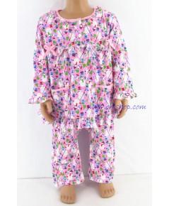 ชุดนอนเด็กหญิง ไซส์ 1-2 แขนยาว ขายาว ผ้ายืด (แบบโบว์อก กระดุม 2 เม็ด)  คลิกดูรายละเอียดเพิ่มเติม