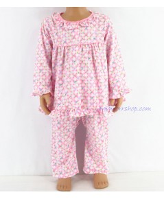 ชุดนอนเด็กหญิง ไซส์ 1-2 แขนยาว ขายาว ผ้ายืด (แบบคอระบาย กระดุมผ่าหน้ากุ๊น ) คลิกดูรายละเอียดเพิ่ม