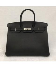 Hermes Birkins 35 SHW in Black สีดำอะไหล่เงิน Togo leather  Top mirror image 7 stars