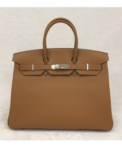 Hermes Birkins 35 สีน้ำตาล Gold Togo leather with Silver hardware