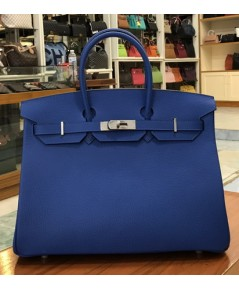Hermes Birkins 35 cm Bleu Electric สีน้ำเงินอะไหล่เงิน Togo leather  Top mirror image 7 stars