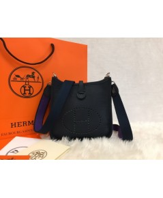 Mini Hermès Evelyne TPM Bag สีน้ำเงิน Indigo
