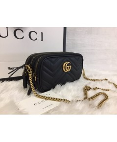 GG Marmont mini chain bag Black Leather