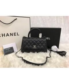 Chanel Small Coco Handle Bag black caviar 9.8 inch  สีดำอะไหล่เงินค่ะ