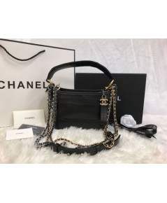 CHANEL Gabrielle Hobo Bag Crocodile Embossed Calfskin Gold/Silver-Tone Black