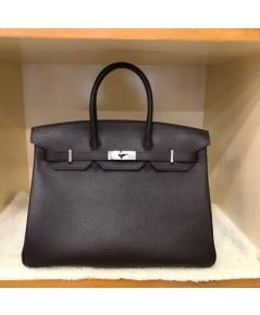 Hermes Birkins 35 สีน้ำตาลชอคโกแลต Togo leather with Silver hardware