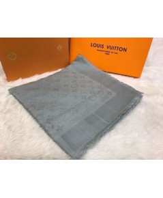 ผ้าพันคอ Louis Vuitton Monogram Shine Shawl Mirror Image 1:1 สีเงิน