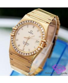 นาฬิกาทองคำ Omega ฝังเพชร