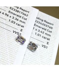 เพชรแท้ Emerald Cut 1.01 ct GIA E VS1