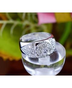 แหวนเพชรดอกไม้ หน้ากว้าง