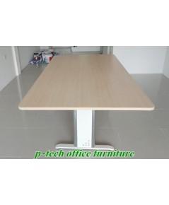 โต๊ะประชุมสี่เหลี่ยมผืนผ้าขาเหล็ก