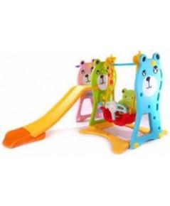 ชุดสนามเด็กเล่น หมีชิงช้ายีราฟสไลด์สีหวาน