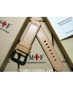 F2-WW2 24/24 130/85 WWII Natural calf leather strap with buckle (white stitch)