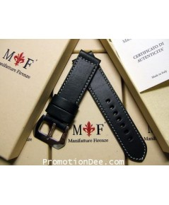 F2-212 24/24 130/85 Black calf leather strap with Polished buckle (white stitch)
