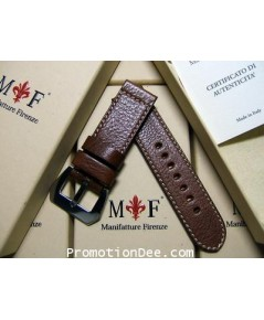�F2-231 24/24 120/75 Hammered brown calf leather strap with Polished buckle (white stitch)