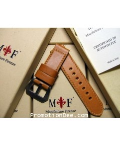 F5-1942 22/22 115/65 Aged calf leather strap 1942 with Brushed buckle (light brown stitch)