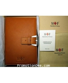 AG-03-N Orange-brown soft leather planner with buckle