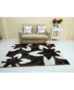 พรมแต่งห้อง ขนฟูสวยสะดุดตา ลายWTS014 สีน้ำตาล warm tone ขนาด 1.20×1.70m.